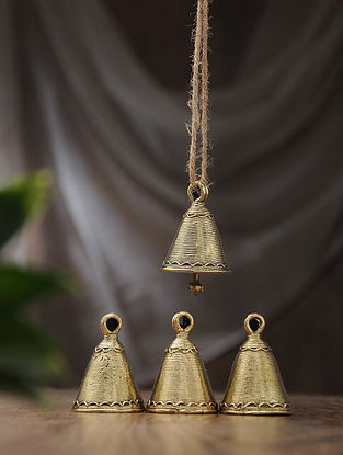Dhokra Brass Tiny Bell (Set of 4) (L:1.5in, W:1.5in, H:2in)