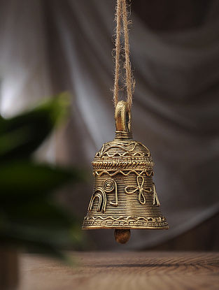Dhokra Brass Hanging Bell (L:2.6in, W:2.6in, H:4in)