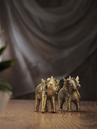 Dhokra Brass Table Top Accent with Elephant Design (Set of 2) (L:4.5in, W:1.5in, H:3.2in)
