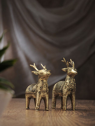 Dhokra Brass Table Top Accent with Deer Design (Set of 2) (L:4.5in, W:1.5in, H:4.3in)