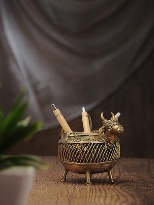 Dhokra Brass Bull Pen Stand (L:6in, W:3in, H:4.2in)