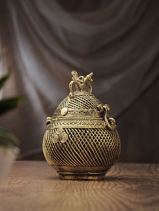 Dhokra Brass Decorative Coconut Box (L:2.7in, W:2.7in, H:6.6in)