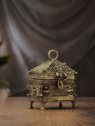Dhokra Brass 4 Corner Box (L:3.2in, W:4.1in, H:5.2in)