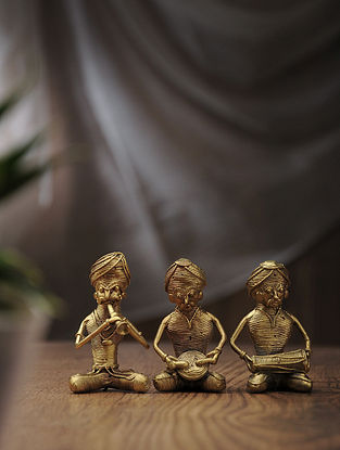 Dhokra Brass Pagdi Table Top Accent (Set of 3) (L:1.5in, W:1.5in, H:3in)