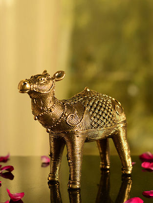 Dhokra Brass Camel Tabletop Accent (L- 6.7in, W- 2.2in, H- 5.5in)