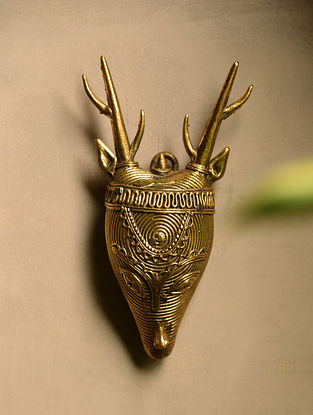 Dhokra Brass Deer Wall Accent (6.1in x 3.3in)