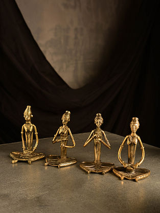 Dhokra Brass Sitting Musician Tabletop Accents (Set of 4) (L- 2in, W- 2.5in, H- 3.6in)