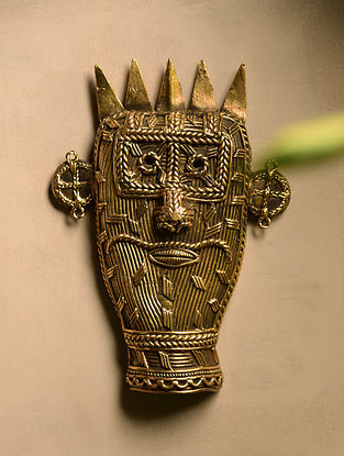 Dhokra Brass Demon Mask Wall Accent (8in x 5.6in)