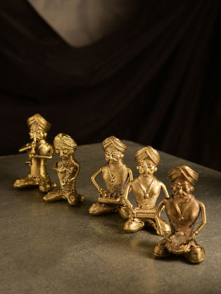 Dhokra Brass Pagadi Musician Tabletop Accents (Set of 5) (L- 1.1in, W- 1.3in, H- 2.5in)