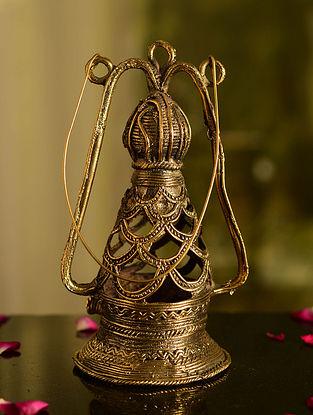 Dhokra Brass Tabletop Lantern (L- 3.5in, W- 3.5in, H- 12in)