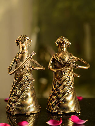 Dhokra Brass Lady Tabletop Accents (Set of 2) (L- 3in, W- 2.5in, H- 6in)