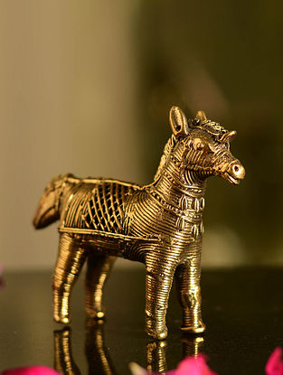 Dhokra Brass Horse Tabletop Accent (L- 4.2in, W- 1.2in, H- 3.5in)