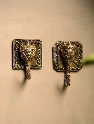 Dhokra Brass Elephant Shirt Hangers (Set of 2) (3.7in x 2.5in)
