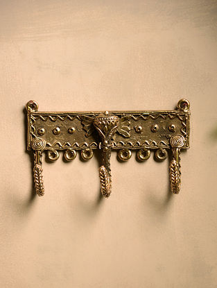 Dhokra Brass Elephant Wall Accent with 3 Hooks (3.5in x 6in)