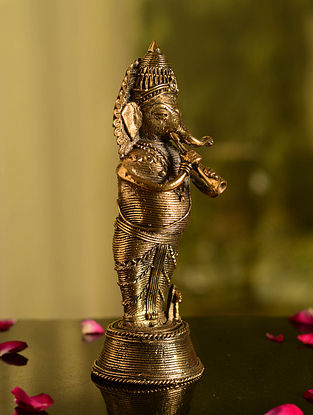 Dhokra Brass Standing Ganesha Tabletop Accent (L- 2.5in, W- 2.5in, H- 7.6in)