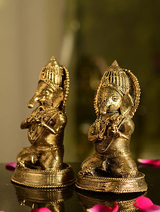 Dhokra Brass Sitting Ganesha Tabletop Accents (Set of 2) (L- 2.5in, W- 2.7in, H- 5in)