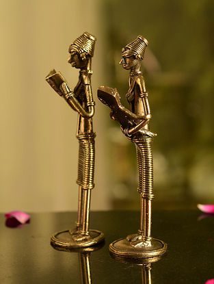 Dhokra Brass Standing Mother and Child Tabletop Accents (Set of 2) (L- 1.5in, W- 1.5in, H- 6in)