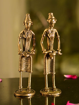 Dhokra Brass Standing Musician Tabletop Accents (Set of 2) (L- 1.5in, W- 1.5in, H- 5.6in)