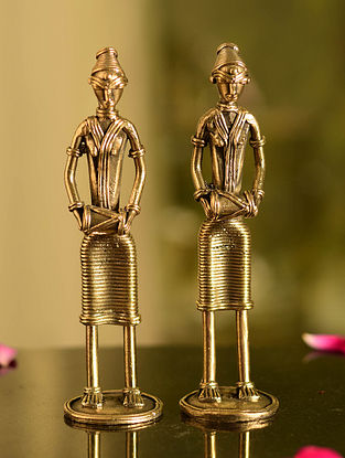 Dhokra Brass Standing Musician Tabletop Accents (Set of 2) (L- 1.5in, W- 1.5in, H- 6in)
