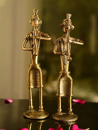 Dhokra Brass Standing Musician Tabletop Accents (Set of 2) (L- 2in, W- 1.7in, H- 8in)