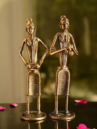 Dhokra Brass Standing Musician Tabletop Accents (Set of 2) (L- 2.1in, W- 2.1in, H- 8in)
