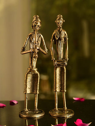 Dhokra Brass Standing Musician Tabletop Accents (Set of 2) (L- 2in, W- 2in, H- 8.2in)