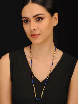 Blue Gold Tone Handcrafted Dhokra Necklace