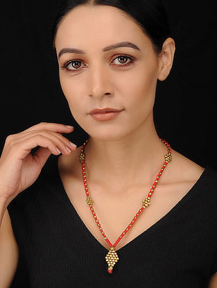 Red Gold Tone Handcrafted Dhokra Necklace