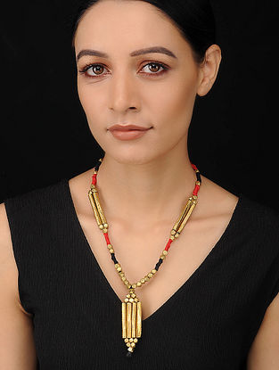 Red Black Gold Tone Handcrafted Dhokra Necklace