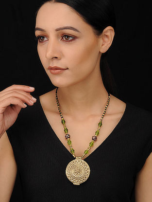 Green Gold Tone Handcrafted Dhokra Necklace