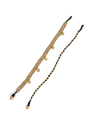 Black Gold Tone Handcrafted Dhokra Ankets (Set of 2)