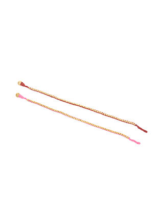 Pink Marroon Gold Tone Handcrafted Anket (Set of 2)