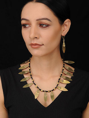 Black Gold Tone Handcrafted Dhokra Necklace with Earrings (Set of 2)