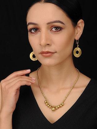 Gold Tone Handcrafted Dhokra Necklace with Earrings (Set of 2)