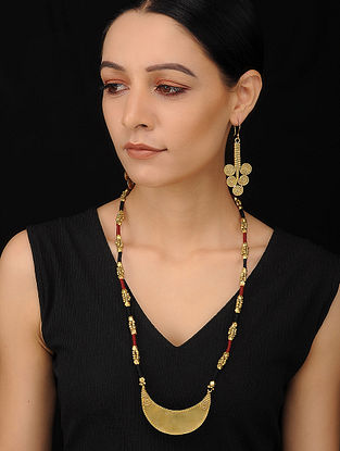 Marroon Black Gold Tone Handcrafted Necklace with Earrings (Set of 2)