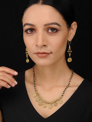 Black Gold Tone Handcrafted Necklace with Earrings (Set of 2)