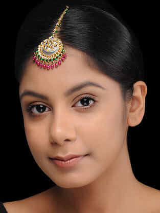 Red-Green Gold Plated Kundan Inspired Brass Mang Tikka