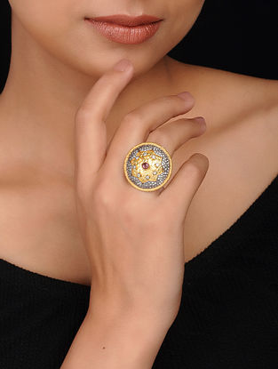 Grey-Brown Gold Plated Brass Ring