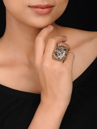 Brown Gold Plated Brass Ring