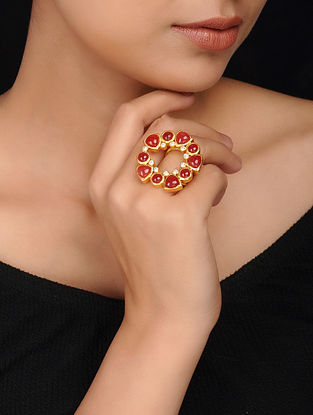 Red Gold Plated Brass Ring