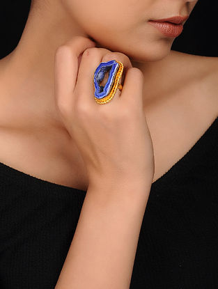 Blue Gold Plated Brass Ring