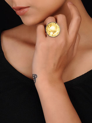 Grey Gold Plated Brass Ring
