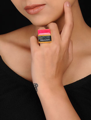 Red-Grey Gold Plated Brass Ring