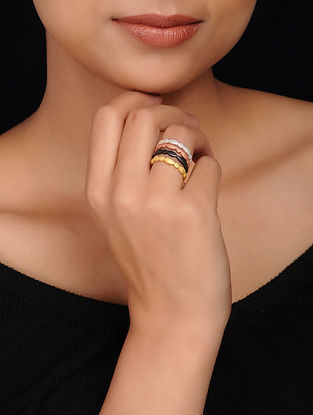 Multicolored Gold Plated Brass Ring