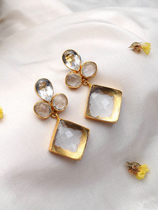 Quartz Gold Tone Handcrafted Earrings