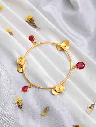 Red Onyx Gold Tone Bangle