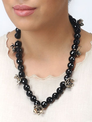 Black Onyx and Coral Silver Necklace