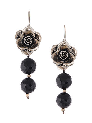 Black Onyx Silver Earrings with Floral Design