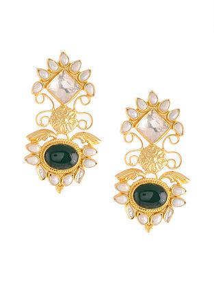 Gold Tone Kundan Silver Earrings with Green Onyx