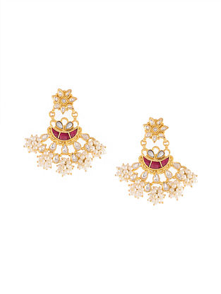 Gold Tone Kundan Silver Earrings with Red Onyx and Pearls